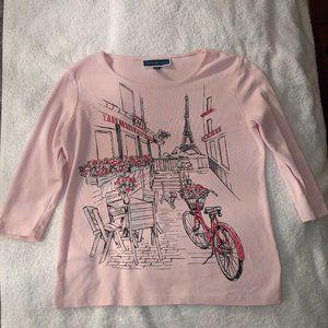 Karen Scott 3/4 Sleeve Top with Parisian Design
